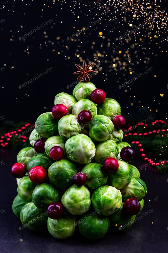 Modern Creative Christmas Tree Made of Brussles Sprouts