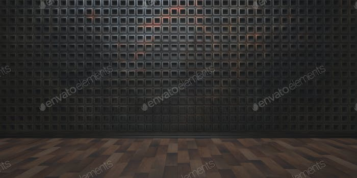 Empty room, wooden floor and geometric square pattern wall. 3d illustration