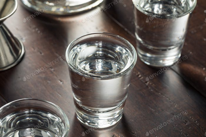 Clear Alcoholic Russian Vodka Shots