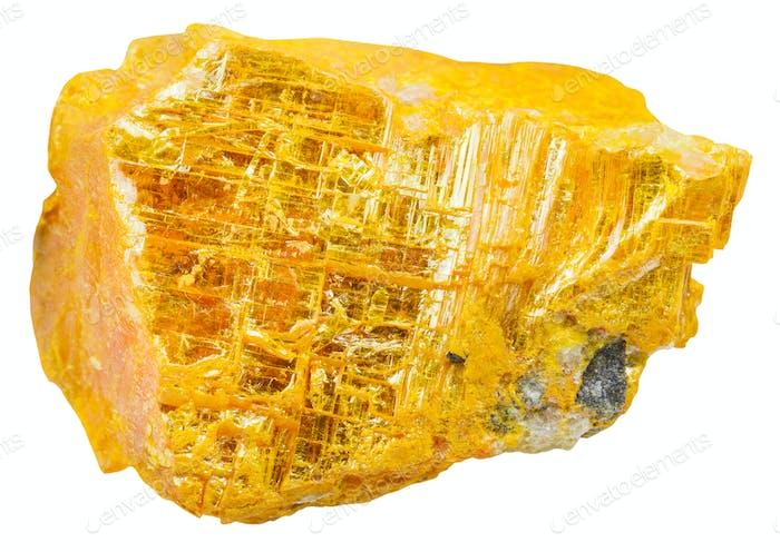 gelbes Orpiment Stück isoliert auf weiß