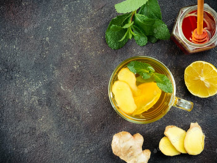 Herbal tea with ginger, mint and lemon