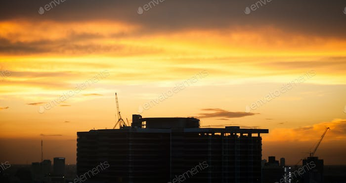 Silhouette building in the dawn