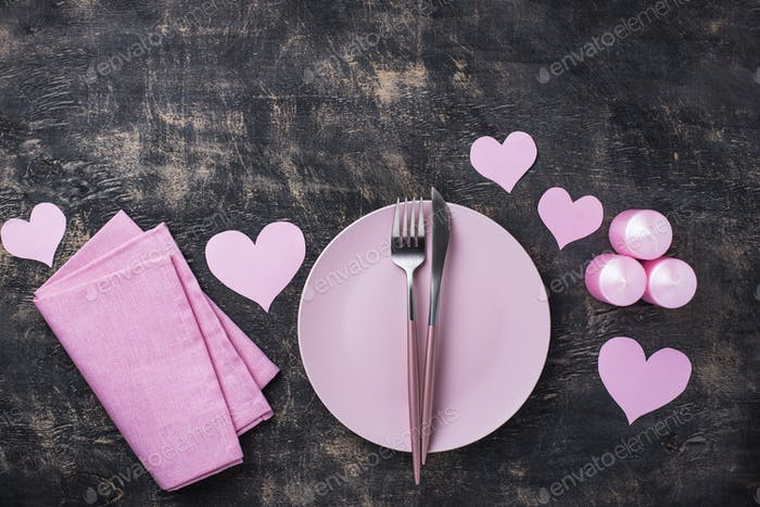 Valentines Day pink table setting