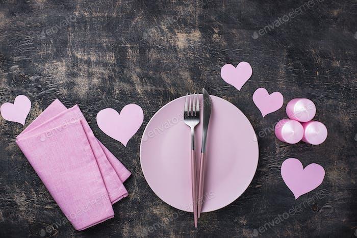 Valentinstag rosa Tischdekoration