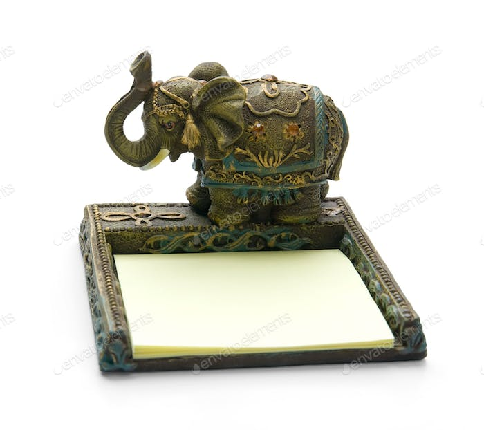 elephant - note paper, isolated on white background