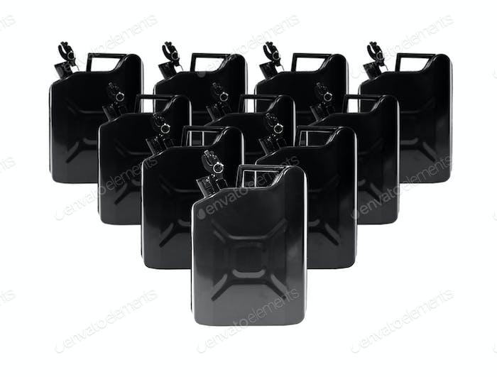 Zehn schwarze Metall-Kraftstoffbehälter Kanister