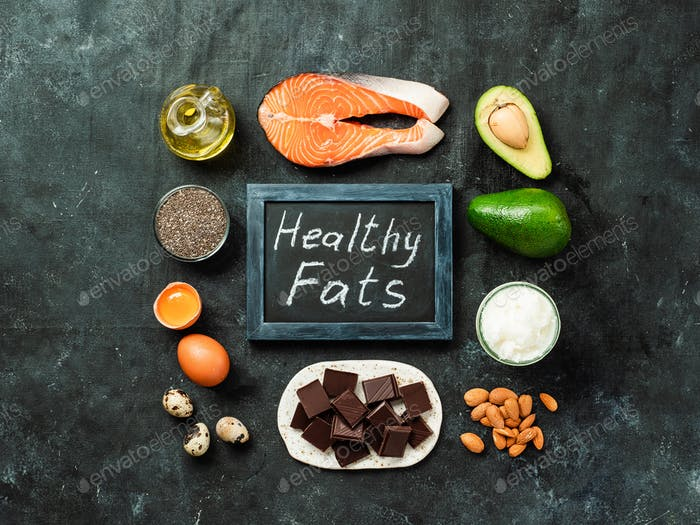 Healthy fats sources concept, top view