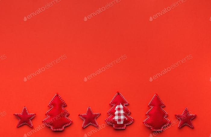 Red Christmas background with handmade felt decorations