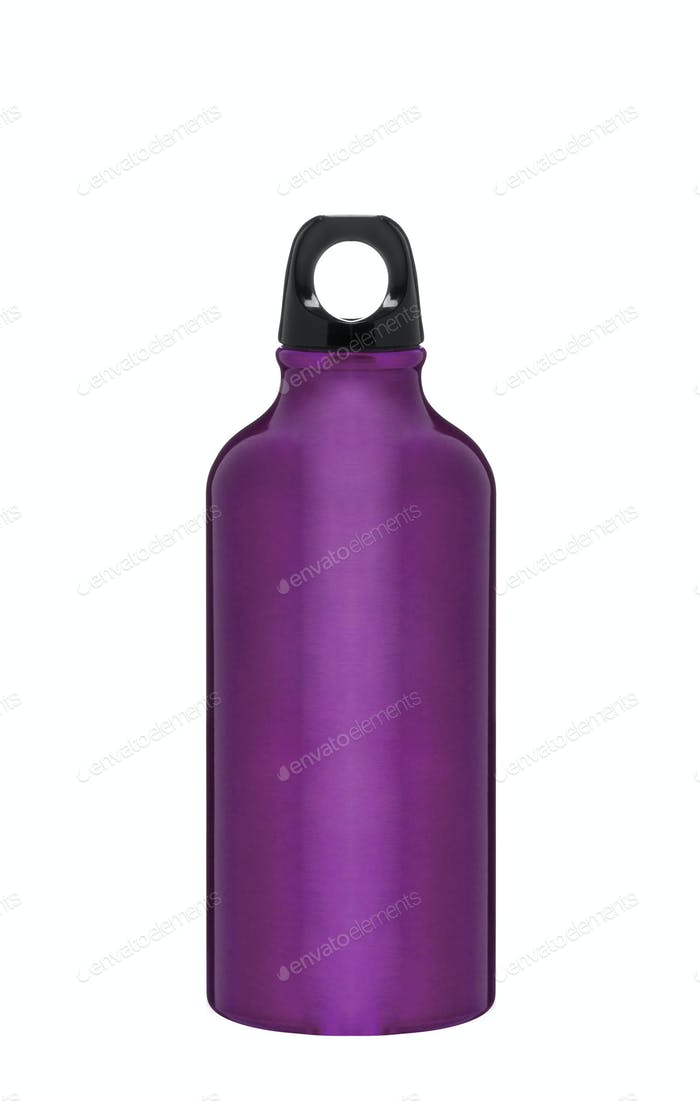 Metal water flask on a white background