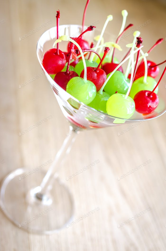 Glace cherries in martini glass