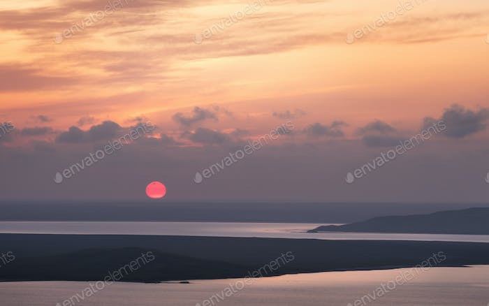 Sunset over the lakes. Opuk.