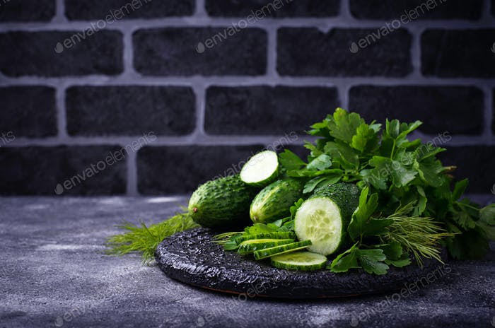 Fresh sliced cucumber and parsley