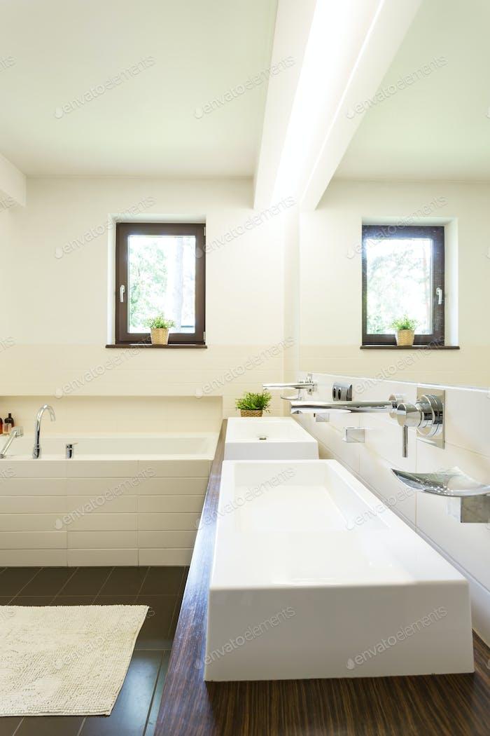 Bathroom with two wash basins