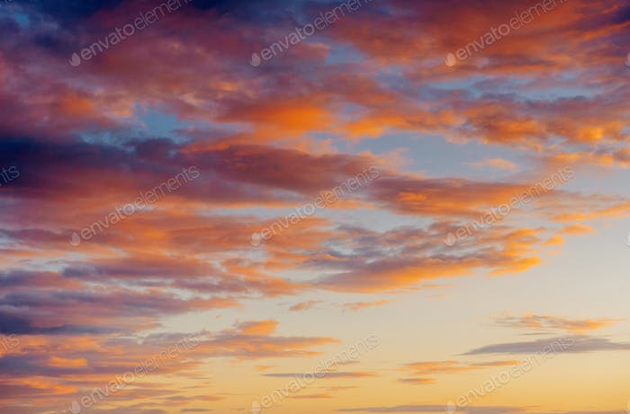 Fantastic views of the pink sky at sunset with clouds