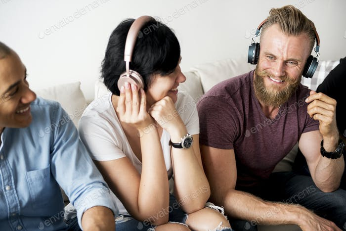 People enjoy music on headphones