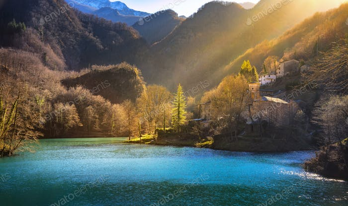 Isola Santa medieval village, church and lake. Garfagnana, Tusca