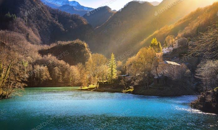 Isola Santa medieval village, church and lake. Garfagnana, Tusca