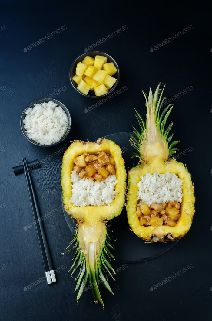 Thumbnail for Pineapple stuffed rice with pineapple cashews chicken