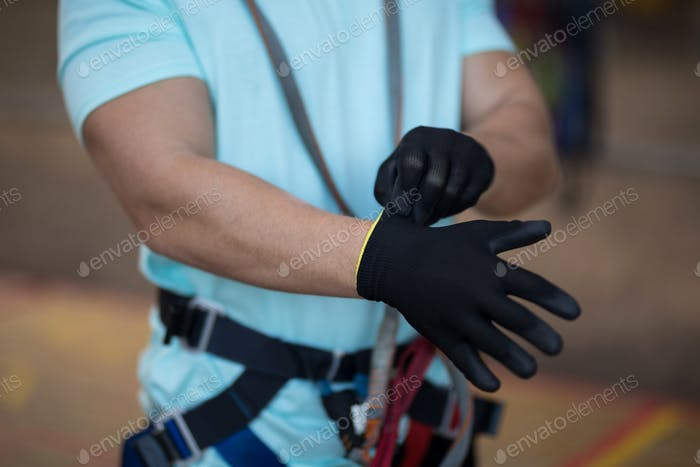 Man wearing gloves
