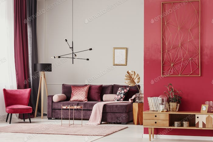 Red living room interior