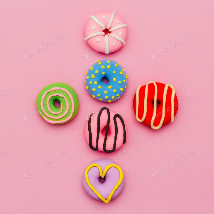 Fashion Donut Set. Pink Candy Minimal Flatlay art.