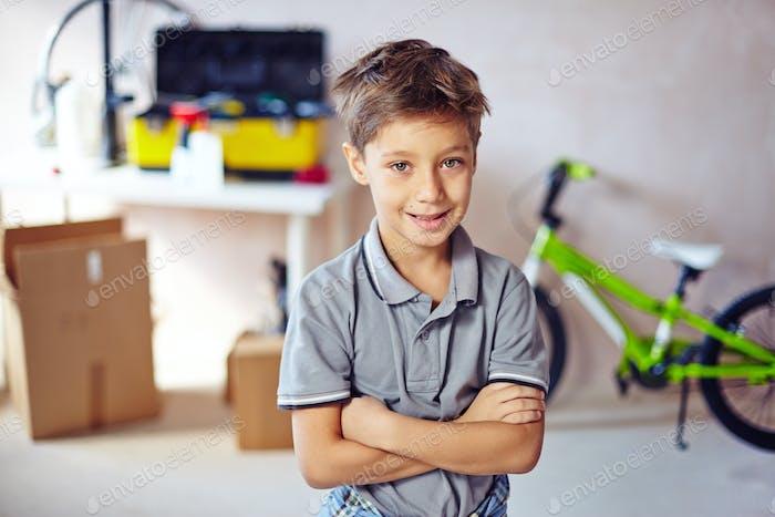 Boy in garage