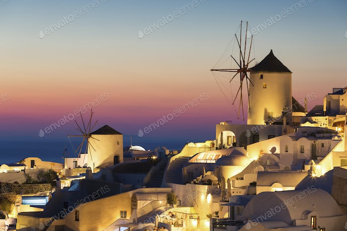 Oia village at sunset