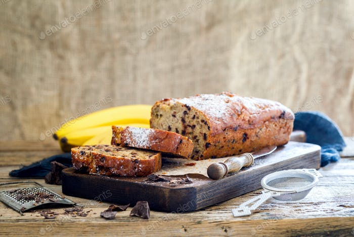 Baking with Banana and Chocolate. Holiday Cake. Dessert.