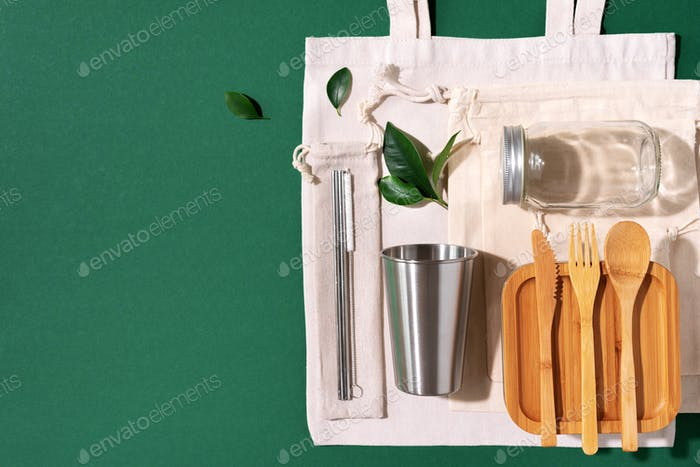Sustainable lifestyle. Zero waste, plastic free shopping concept. Cotton bags, glass jar, bottle