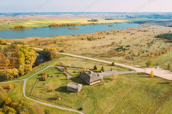 Kosava, Belarus. Memorial Museum-estate Of Tadeusz Kosciuszko. Aerial Bird's-eye View Of Famous