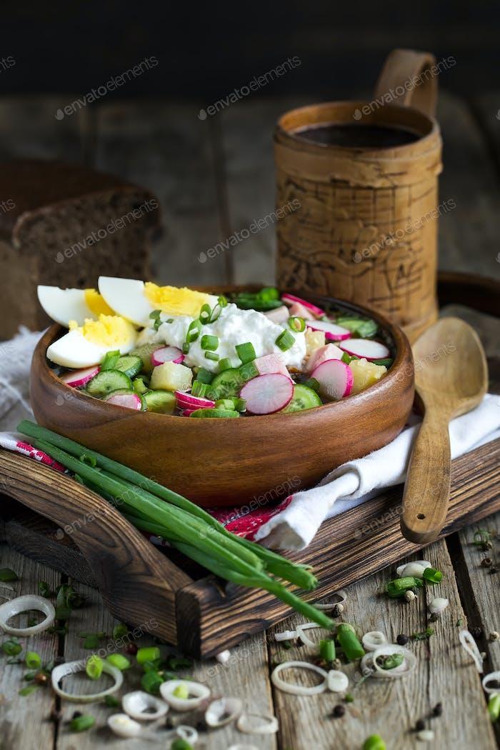 Russian cold soup okroshka