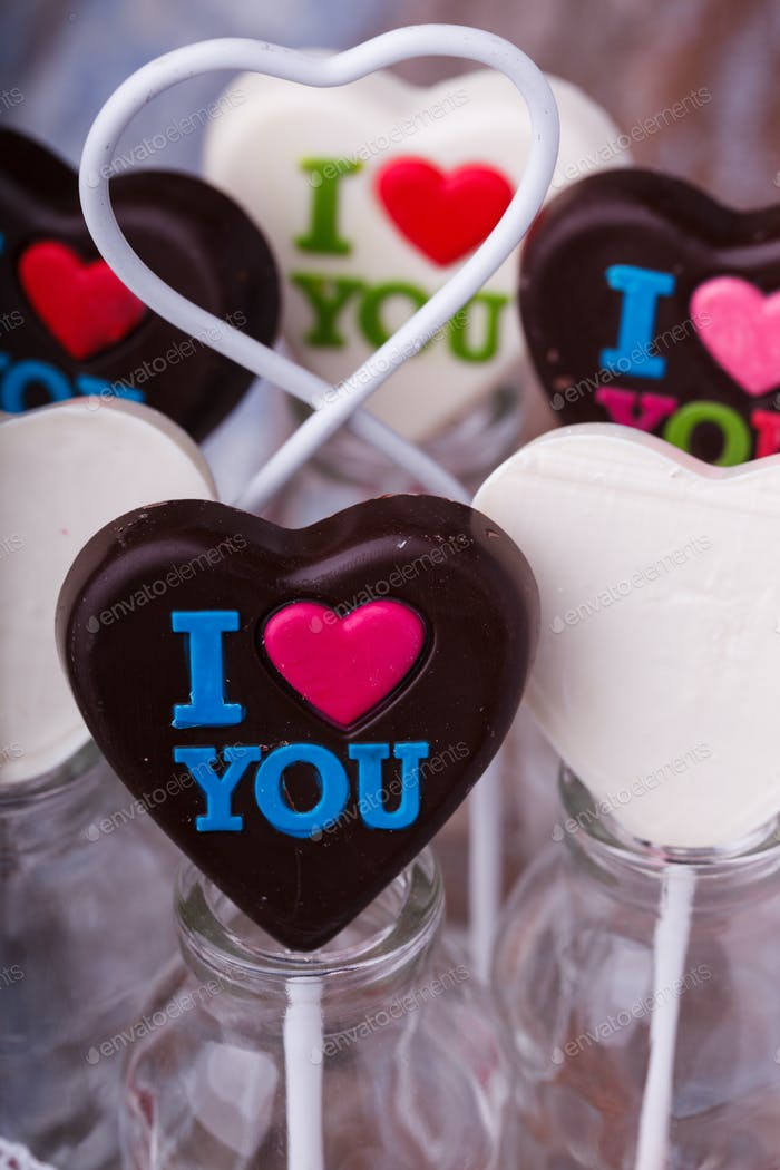 Chocolates on sticks in the shape of a heart