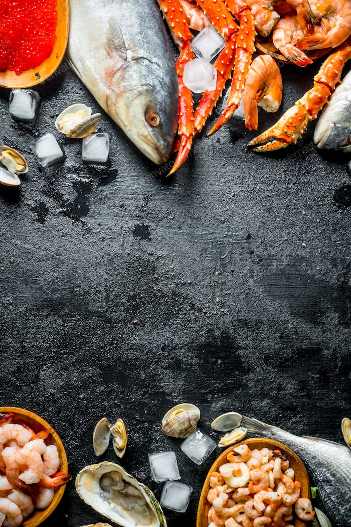 Healthy diet of seafood on ice.