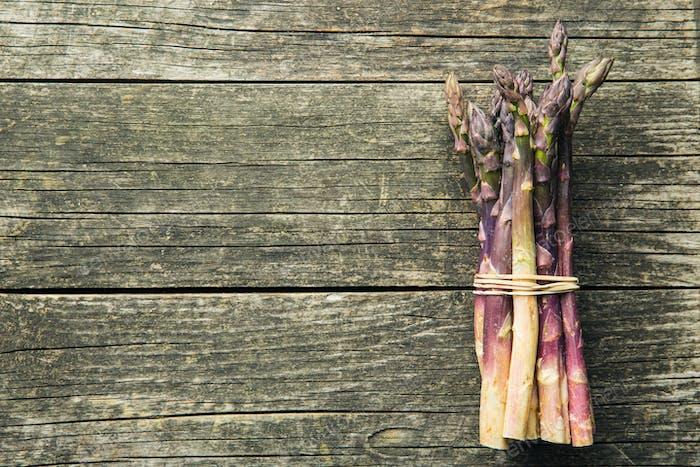 Fresh purple asparagus.