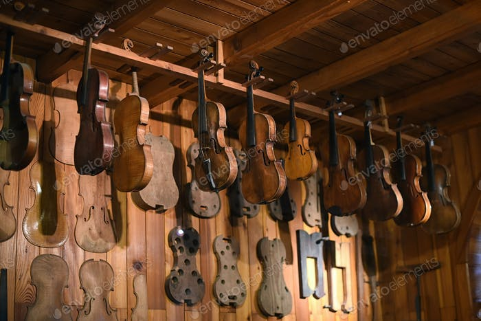 Violins hanging in luthier workshop