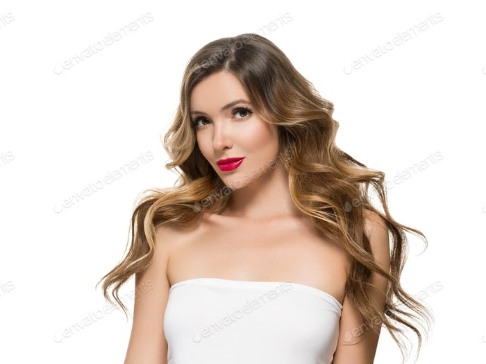 Beautiful woman with red manicured nails and red lipstick long curly hairstyle female portrait