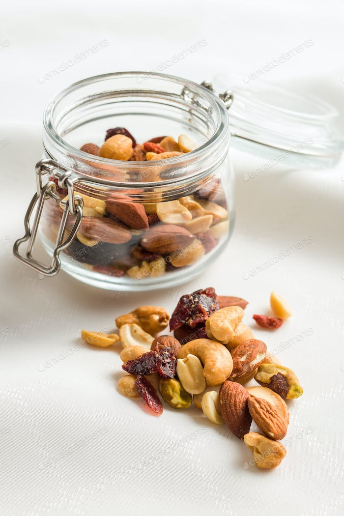 Mix of various nuts and raisins