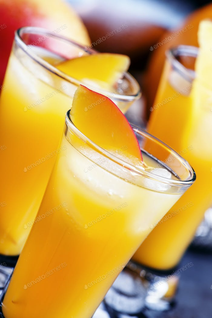 Mango and orange liqueur with ice