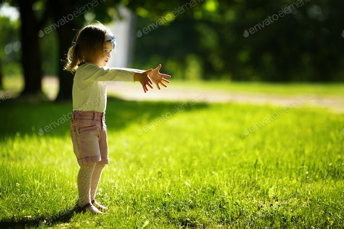 little beautiful girl in park