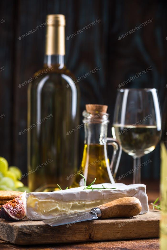Camembert cheese with white wine