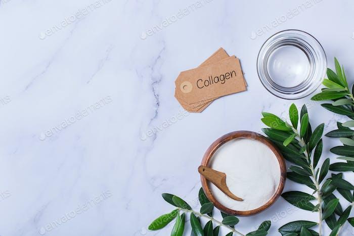 Colágeno en polvo, cuidado de la piel concepto de belleza antienvejecimiento