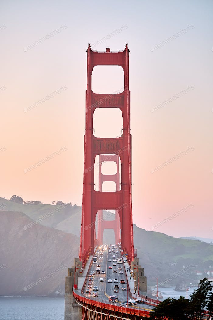 Golden Gate Bridge at sunset, San Francisco, California