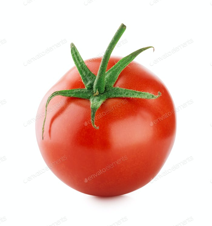 Ripe tomato with green handle