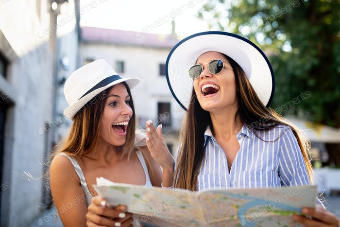 Girls Friendship Hangout Traveling Holiday Map Concept