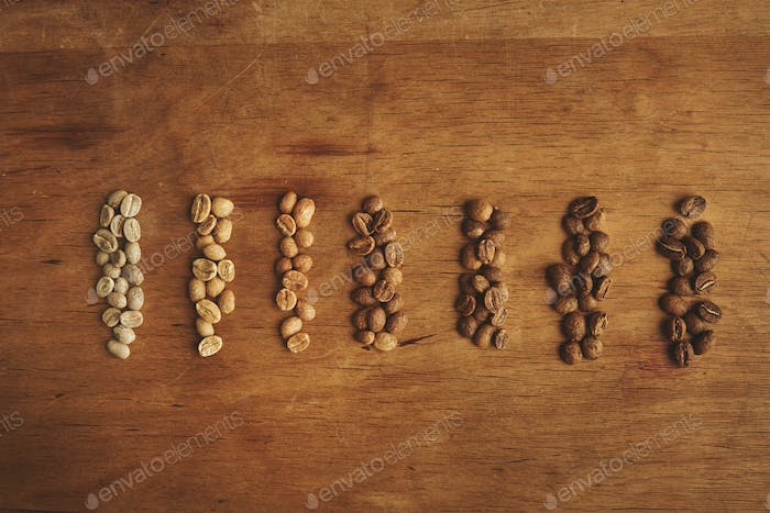 Different grades of coffee roasting