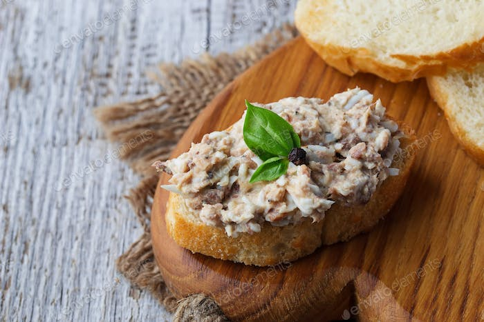 Canapes with tuna salad.
