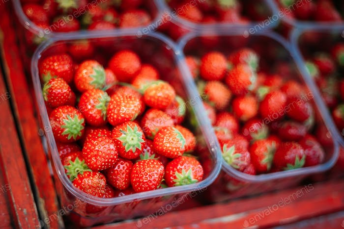 Assortment Of Fresh Organic Red Berries Strawberries At Produce