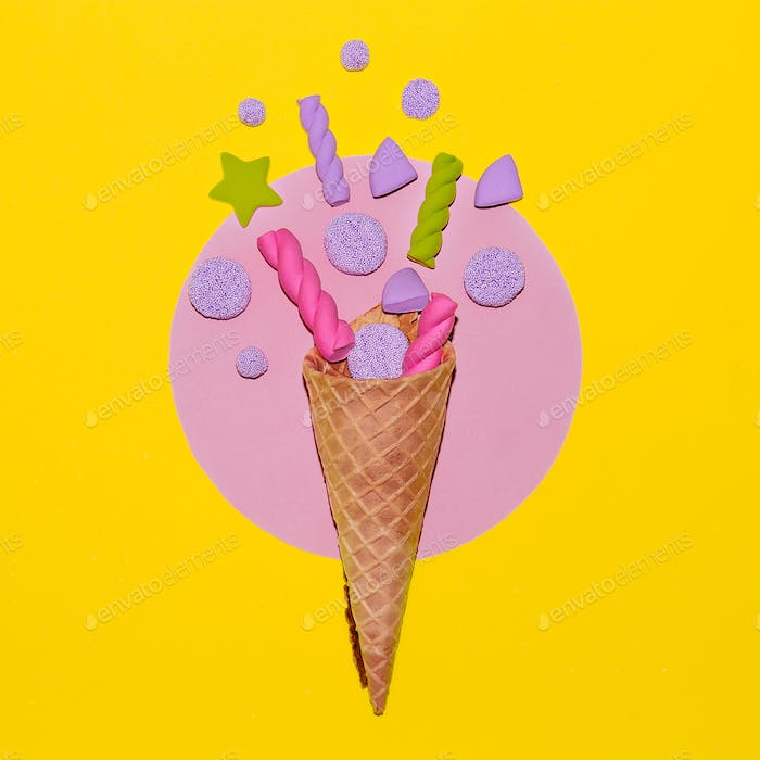 Candy Ice cream. Candy minimal. Candy Art. Vanilla sweet mood