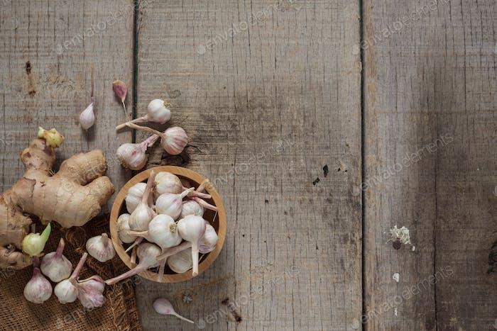 Garlic on old wooden
