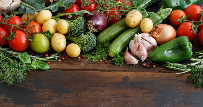 Fresh raw vegetables and herbs